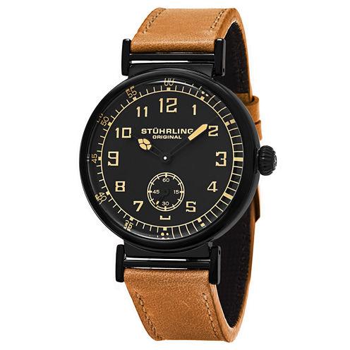 Stuhrling Mens Brown Strap Watch-Sp16249