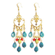 ZÖE + SYD Turquoise Howlite & Coral Chandelier Earrings