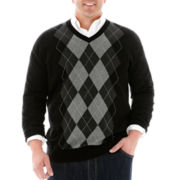 Claiborne V-Neck Argyle Sweater-Big & Tall