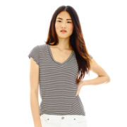 Joe Fresh™ Cap-Sleeve Striped V-Neck Tee