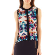 nicole by Nicole Miller® Sleeveless Blocked Print Top