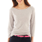 jcp™ 3/4-Sleeve Boatneck Button-Shoulder Tee