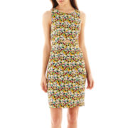 I 'Heart' Ronson® Sleeveless Floral Print Sheath Dress