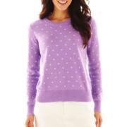 Liz Claiborne Long-Sleeve Polka Dot Knit Sweater
