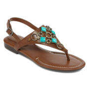 Studio Paolo® Embellished Slingback Flat Sandals