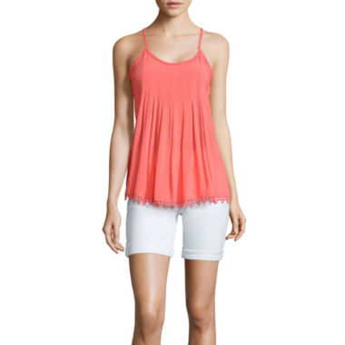 jcpenney.com | Stylus™ Pleated Tank Top with Ball Trim or Denim Bermuda Shorts