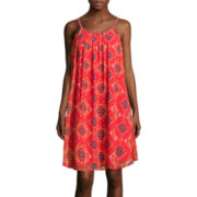 Pinky Sleeveless Braided-Strap Print Chiffon A-Line Dress