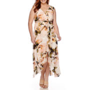 Signature by Sangria Sleeveless Floral Print Tie-Waist Maxi Dress - Plus