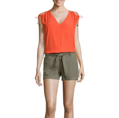 jcpenney.com | a.n.a® Sleeveless Cold-Shoulder Top or Mid-Rise Sash Denim Shorts - Tall