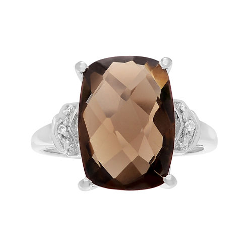 Genuine Smoky Quartz & White Topaz Sterling Silver Ring