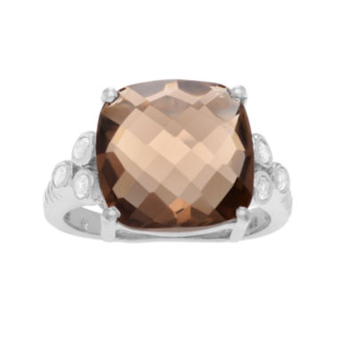 jcpenney.com | Genuine Smoky Quartz & White Topaz Sterling Silver Ring