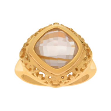 jcpenney.com | Genuine Yellow Quartz 14K Yellow Gold Over Silver Ring