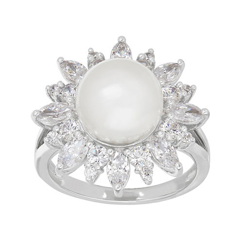 Certified Sofia™ Cultured Freshwater Pearl & Swarovski® Cubic Zirconia Sterling Silver Ring