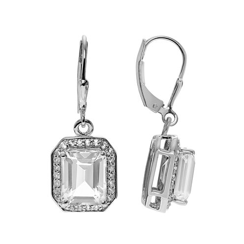 Lab-Created Quartz and White Topaz Sterling Silver Dangle Earrings