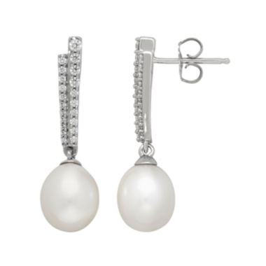 jcpenney.com | Certified Sofia™ Bridal Cultured Freshwater Pearl & Swarovski® Cubic Zirconia Sterling Silver Earrings