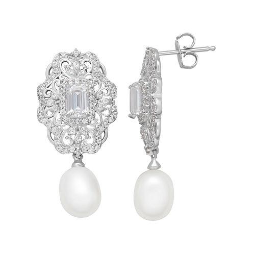Certified Sofia™ Bridal Cultured Freshwater Pearl & Swarovski® Cubic Zirconia Sterling Silver Earrings
