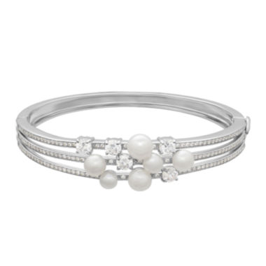 jcpenney.com | Certified Sofia™ Bridal Cultured Freshwater Pearl & Swarovski® Cubic Zirconia Sterling Silver Bracelet