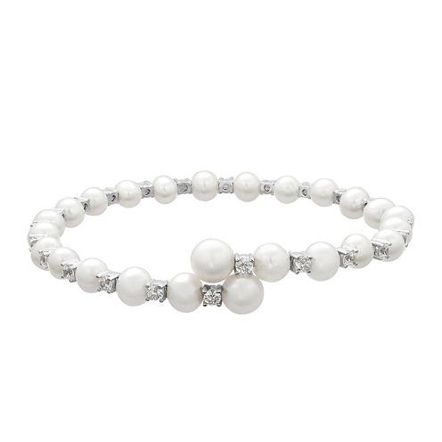 Certified Sofia™ Bridal Cultured Freshwater Pearl & Swarovski® Cubic Zirconia Silver Flex Bangle