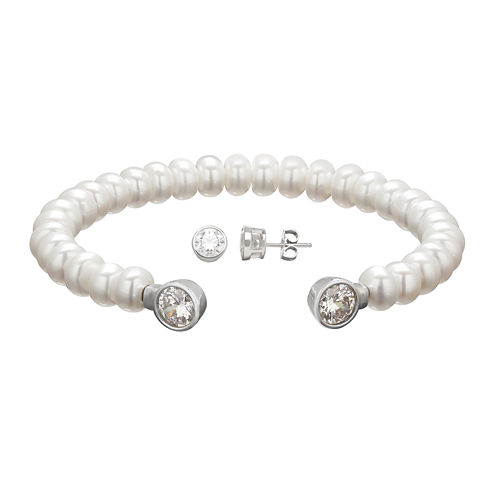 Certified Sofia™ Cultured Freshwater Pearl & Swarovski® Cubic Zirconia Bracelet and Earrings Set