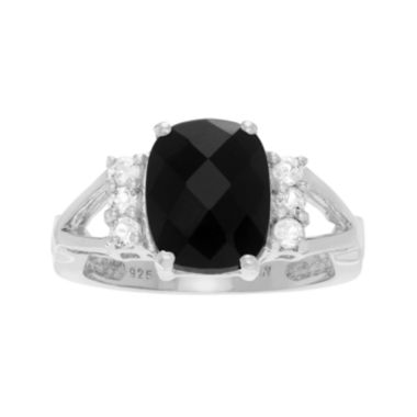 jcpenney.com | Genuine Onyx and White Topaz Sterling Silver Ring