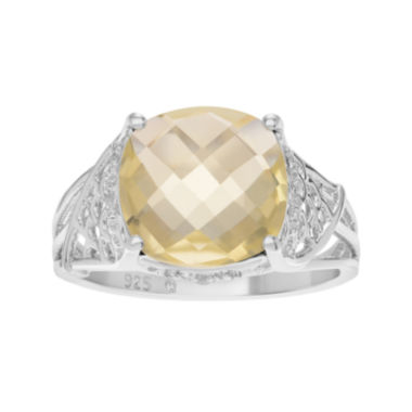 jcpenney.com | Genuine Lemon Quartz and White Topaz Sterling Silver Ring