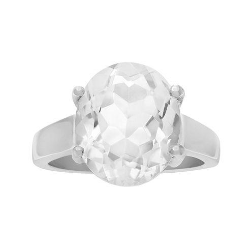 Genuine Crystal Quartz Sterling Silver Ring