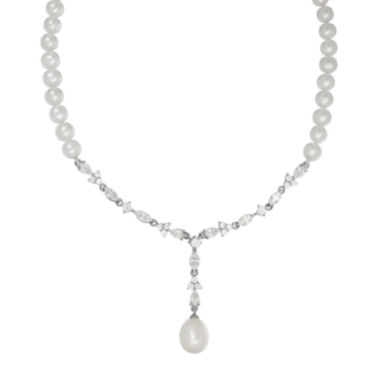 jcpenney.com | Certified Sofia™ Bridal Cultured Freshwater Pearl & Swarovski® Cubic Zirconia Silver Necklace