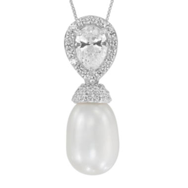 jcpenney.com | Certified Sofia™ Bridal Cultured Freshwater Pearl & Swarovski® Cubic Zirconia Silver Pendant