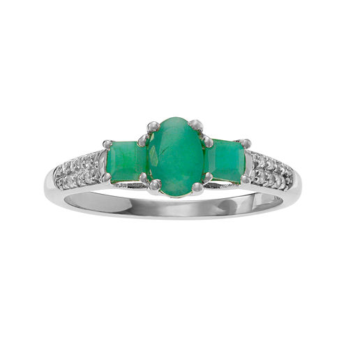Color-Enhanced Emerald and Genuine White Topaz Sterling Silver Ring