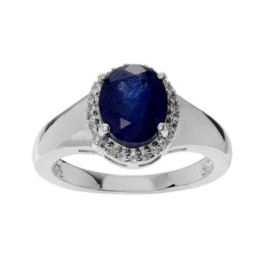 jcpenney.com | Color-Enhanced Blue Sapphire and Genuine White Topaz Sterling Silver Ring