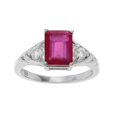 jcpenney.com | Lab-Created Ruby and Genuine White Topaz Sterling Silver Ring