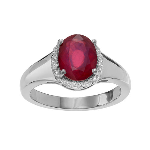 Lab-Created Ruby and Genuine White Topaz Sterling Silver Ring