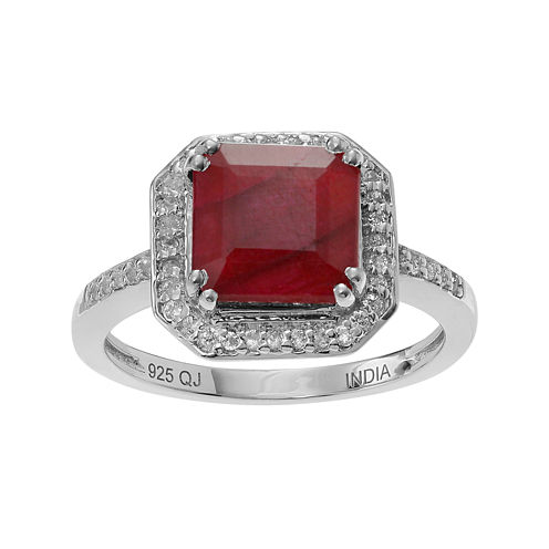 Lead Glass-Filled Ruby & Genuine White Topaz Sterling Silver Ring