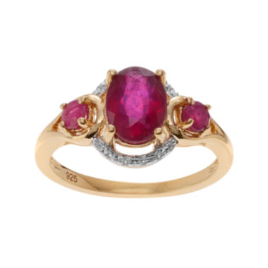 jcpenney.com | Color-Enhanced Ruby & Genuine White Topaz 14K Yellow Gold Over Silver Ring