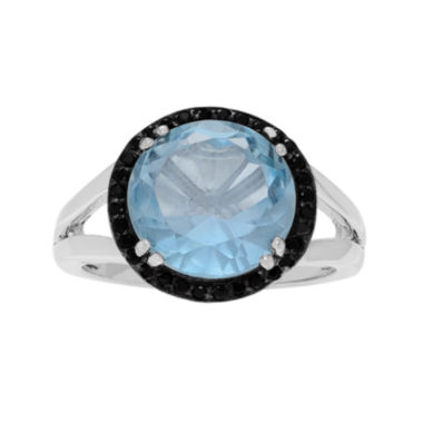 jcpenney.com | Genuine Blue Topaz and Black Spinel Sterling Silver Ring