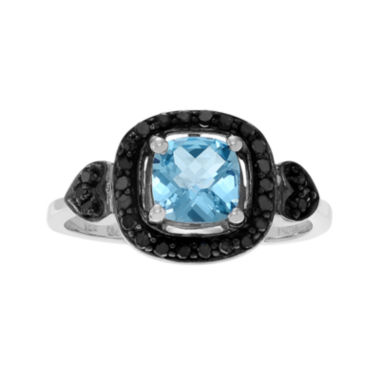 jcpenney.com | Genuine Blue Topaz and 1/3 CT. T.W. Color-Enhanced Black Diamond Sterling Silver Ring
