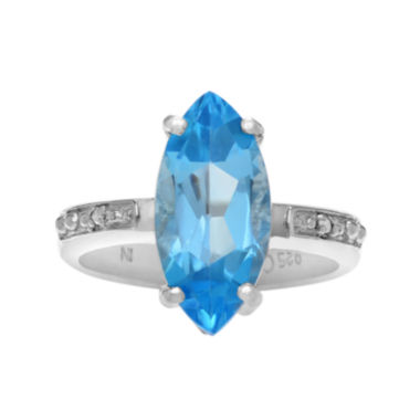 jcpenney.com | Genuine Blue Topaz and 1/10 CT. T.W. Diamond Sterling Silver Ring