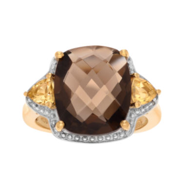 jcpenney.com | Genuine Smoky Topaz and Citrine 14K Yellow Gold Over Silver Ring