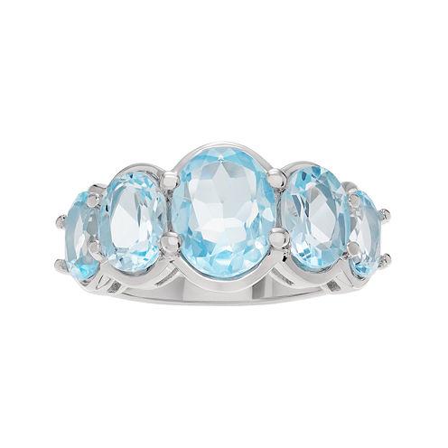 Genuine Blue Topaz 5-Stone Sterling Silver Ring