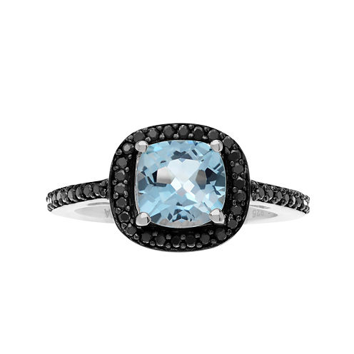 Genuine Blue Topaz and Black Spinel Sterling Silver Ring