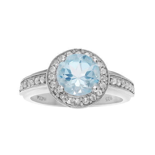 Genuine Blue & White Topaz Sterling Silver Ring