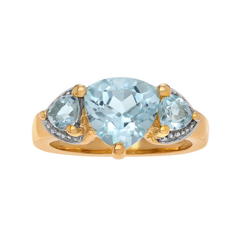 Genuine Blue & White Topaz 14K Gold Over Silver Ring