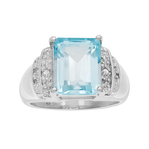 Genuine Blue and White Topaz Sterling Silver Ring