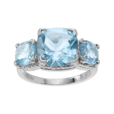 jcpenney.com | Genuine Blue and White Topaz 3-Stone Sterling Silver Ring