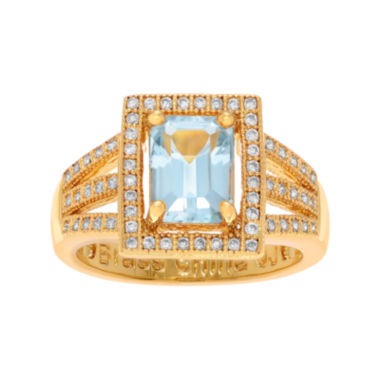 jcpenney.com | Genuine Blue Topaz and Cubic Zirconia 14K Yellow Gold Over Brass Ring
