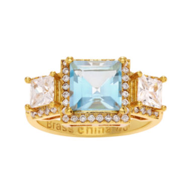 jcpenney.com | Genuine Blue and White Topaz 14K Yellow Gold Over Brass 3-Stone Ring