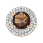 Genuine Smoky Topaz and Cubic Zirconia 14K Gold Over Brass Ring