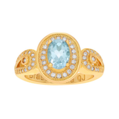 jcpenney.com | Genuine Blue Topaz and Cubic Zirconia 14K Gold Over Brass Ring