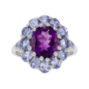 Genuine Amethyst and Blue Tanzanite Sterling Silver Ring