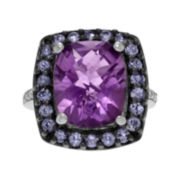 Genuine Amethyst, Tanzanite and White Topaz Sterling Silver Ring